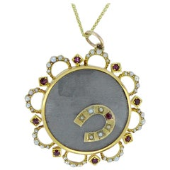 Antique Victorian Locket, Ruby and Pearl Surround, 15 Carat Gold, circa 1890
