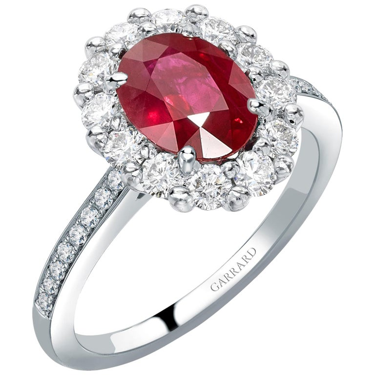 Garrard 1735 Platinum GIA Oval Ruby Diamond Cluster Engagement Cocktail Ring For Sale