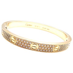 Cartier Love Diamond Paved Yellow Gold Bangle Bracelet