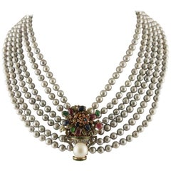 Diamonds Rubies Emeralds Sapphires Stones Pearl Grey Pearl Gold Silver Necklace