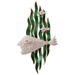 "1963 Georges Braque Yellow, White Gold and Green Enamel Brooch ""HEBE"""