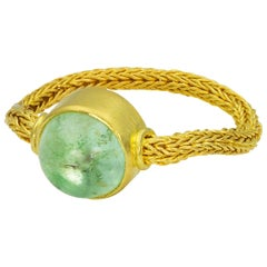 Loren Nicole 22k Gold Handwoven Chain Ring with Paraiba Tourmaline Cabochon