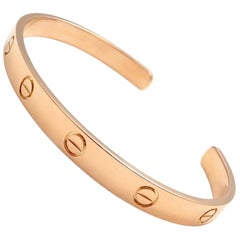 Cartier Love Rose Gold Open Cuff Bangle Bracelet