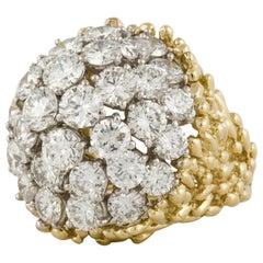 18K Diamond Dome Cluster Ring