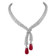 Van Cleef & Arpels Diamond Ruby Mystery Set Necklace