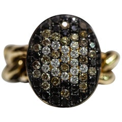 18 Karat Yellow Gold Chain Link Ring Style with Multi-Color Diamonds