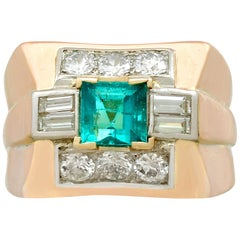 1.02 Carat Emerald and 1.05 Carat Diamond Gold Dress Ring