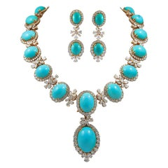 Chaumet Paris Diamond, Cabochon Turquoise Necklace and Ear Clips