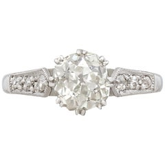 Antique 1.55 Carat Diamond and Platinum Solitaire Engagement Ring