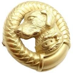 Kieselstein Cord Loyal Dog Labrador Yellow Gold Pin Brooch