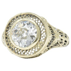 Ornate Victorian 1.61 Carat Old European Diamond 14 Karat Gold Engagement Ring