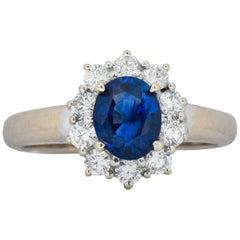 Vintage 2.15 Carat Sapphire Diamond 18 Karat White Gold Cluster Ring