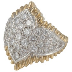18 Karat Yellow Gold Pavé Diamond Ring