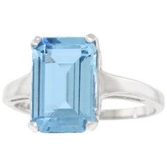 3.73 Carat Aquamarine Set Gold Ring