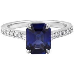 2.22 Carat Blue Sapphire and Diamond Engagement Ring