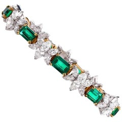 Stunning Colombian Emerald Diamond Platinum Gold Bracelet