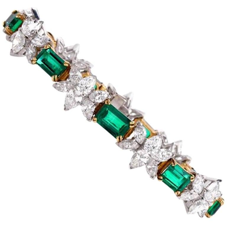 Colombian Emerald Diamond Platinum Gold Bracelet