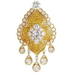 Van Cleef & Arpels Fancy Yellow and White Diamond Brooch/Pendant