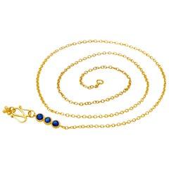 Handmade Kyanite 20 Karat Gold Chain Necklace