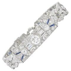 Amazing Art Deco 11.50 Carat Diamond Sapphire Platinum Bracelet