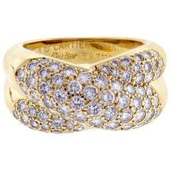 Cartier Pavé Diamond Cross Over Ring