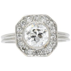 Art Deco 1.58 Carat Old European Diamond Platinum Engagement Ring
