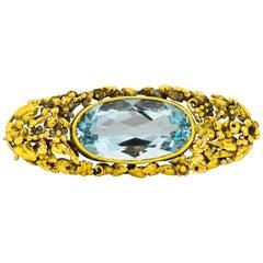 Arts & Crafts 12.55 Carat Aquamarine 14 Karat Gold Brooch