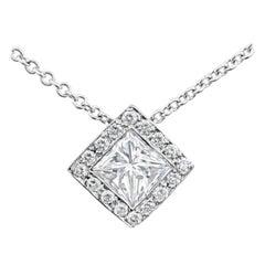 Princess Cut Diamond Halo Pendant Necklace