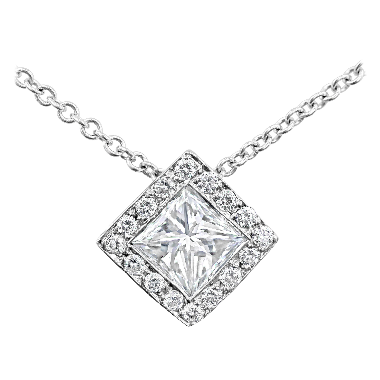 Roman Malakov, Princess Cut Diamond Halo Pendant Necklace