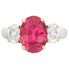 Oval Red Spinel Ring, 3.76 Carat