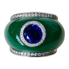 Michael Kneebone Green Jadeite Blue Sapphire Diamond Bombe Ring