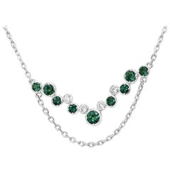 Alexandrite Round White Diamond Gold Necklace