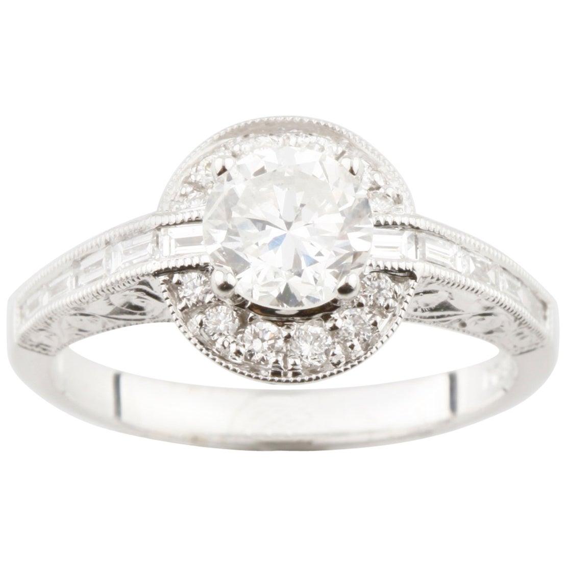 1.40 Carat Round Diamond Halo 18 Karat White Gold Engagement Ring