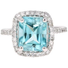 5.82 Carat Blue Zircon Diamond 14 Karat White Gold Ring
