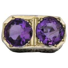 Edwardian 4.80 Carat Amethyst 14 Karat White Gold Ring