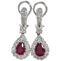 Burma Ruby and Diamond Earrings