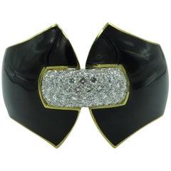 David Webb Platinum, Diamond and Enamel Cuff Bracelet