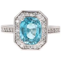 3.79 Carat Blue Zircon Diamond 14 Karat White Gold Ring