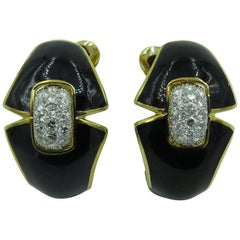 David Webb Platinum, Black Enamel and Diamond Earclips
