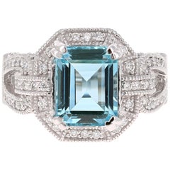 6.05 Carat Aquamarine Diamond White Gold Cocktail Ring