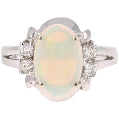 1.70 Carat Opal Diamond 14 Karat White Gold Ring