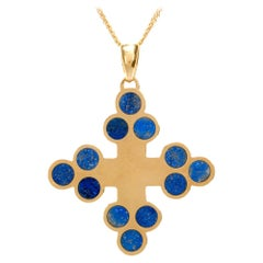 1970s Lapis Lazuli Cross 18 Karat Yellow Gold Pendant Chain Necklace