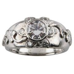Sunflower Diamond Platinum Solitaire Engagement Ring GIA Certified
