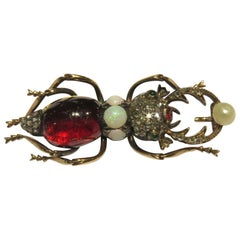 Antique Russian Gold Diamond Garnet Emerald Opal Natural Pearl Cicada Pin Brooch
