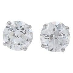 Old European Cut Diamond Earrings 3.17 Carat Set in 14 Karat White Gold
