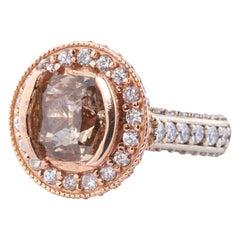 Champagne Diamond Cushion Cut Engagement Ring