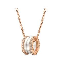 Bvlgari B. Zero 18 Karat Necklace in Rose Gold, White Ceramic, Diamond Paved