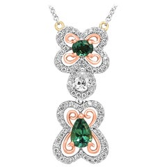 Alexandrite Pear and Oval Halo Diamond Two-Color Gold Butterfly Pendant Necklace