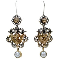 Jill Garber Blessings Collection Gold Angel Drop Earrings with Freshwater Pearls