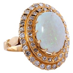 18 Karat Opal Ring and Diamond Cocktail Ring
